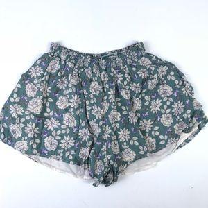 Lush Floral Elastic Waist Flutter Shorts #1541